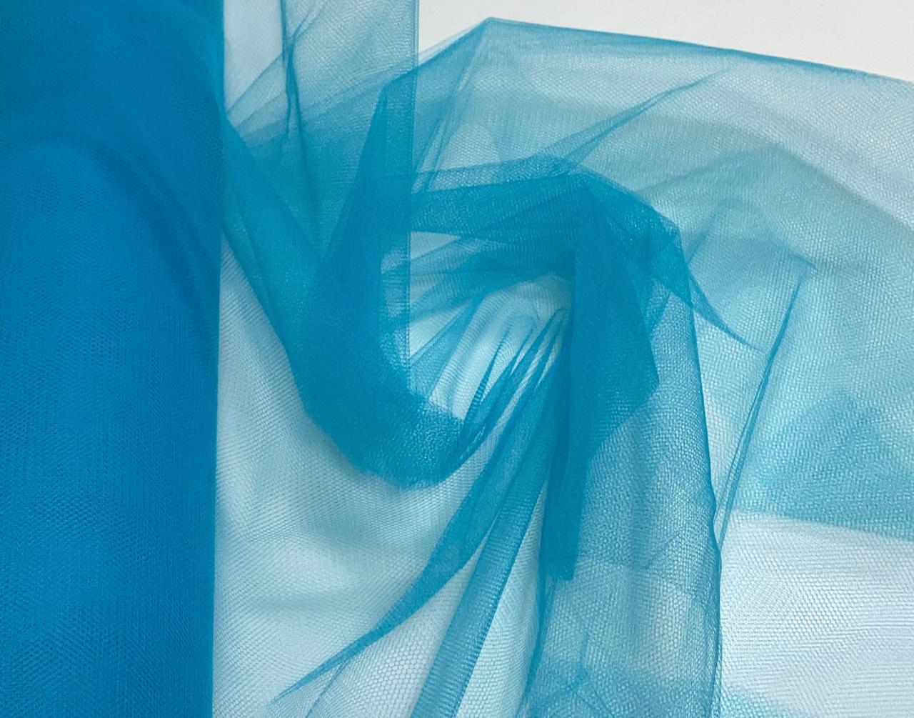Tule Liso Decoração 1,20m Largura Azul Turquesa