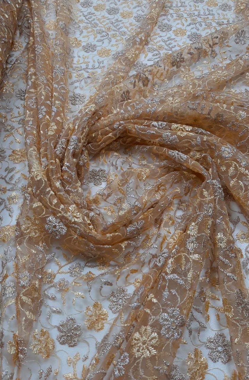 Tule Bordado Bicolor Tons de Dourado com Bico nos 2 Lados