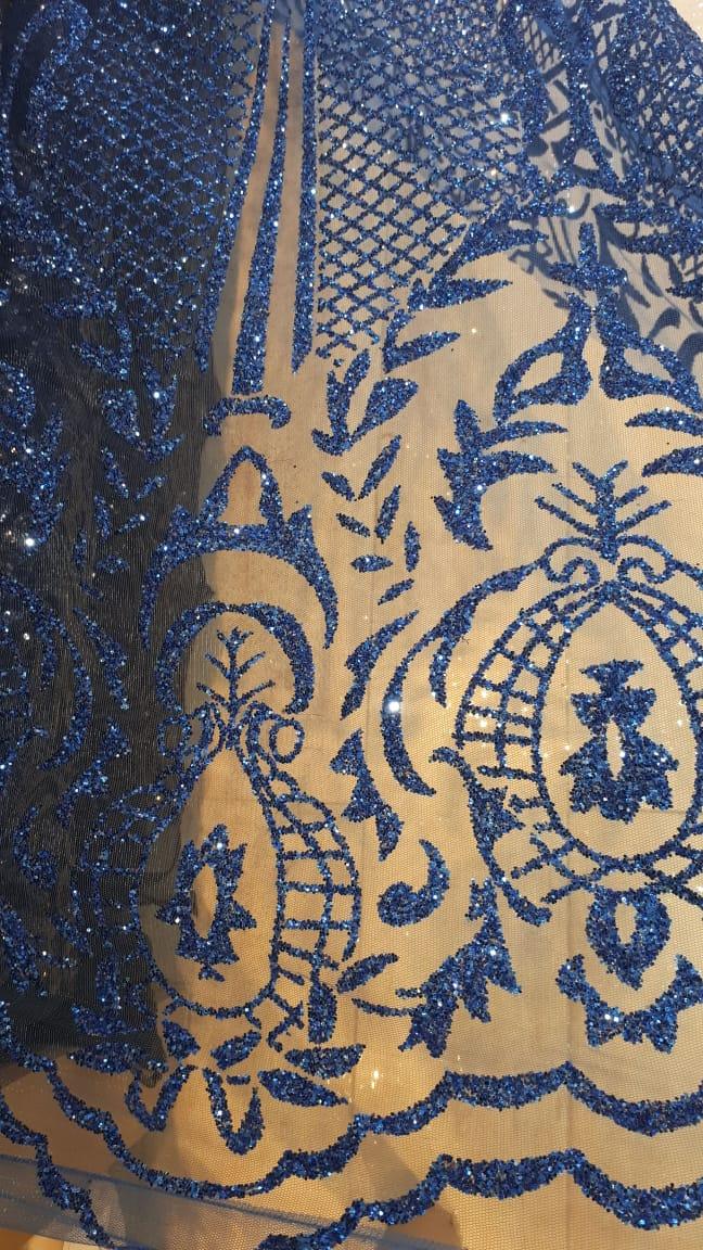 Tule Bordado com Glitter Azul Royal