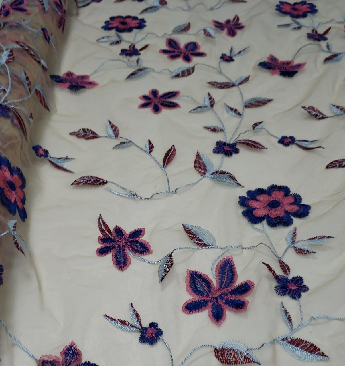 Tule Iluzione Bordado Primavera Fundo Nude Flores Azul Royal