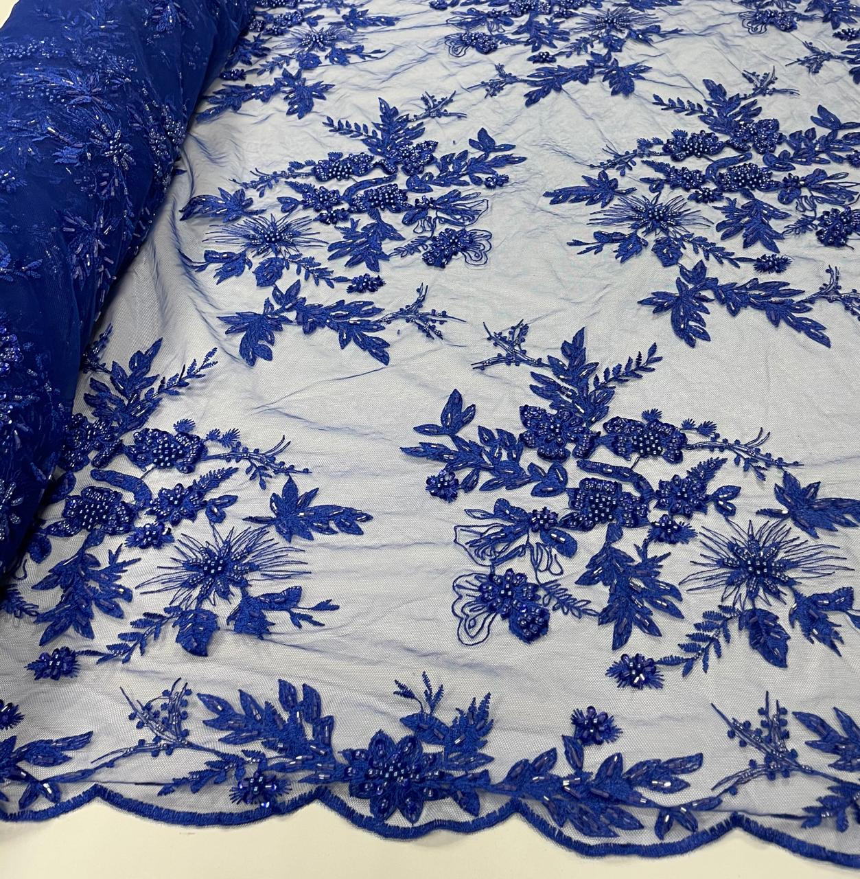 Tule Bordado Ramos Azul Royal com Pedrarias