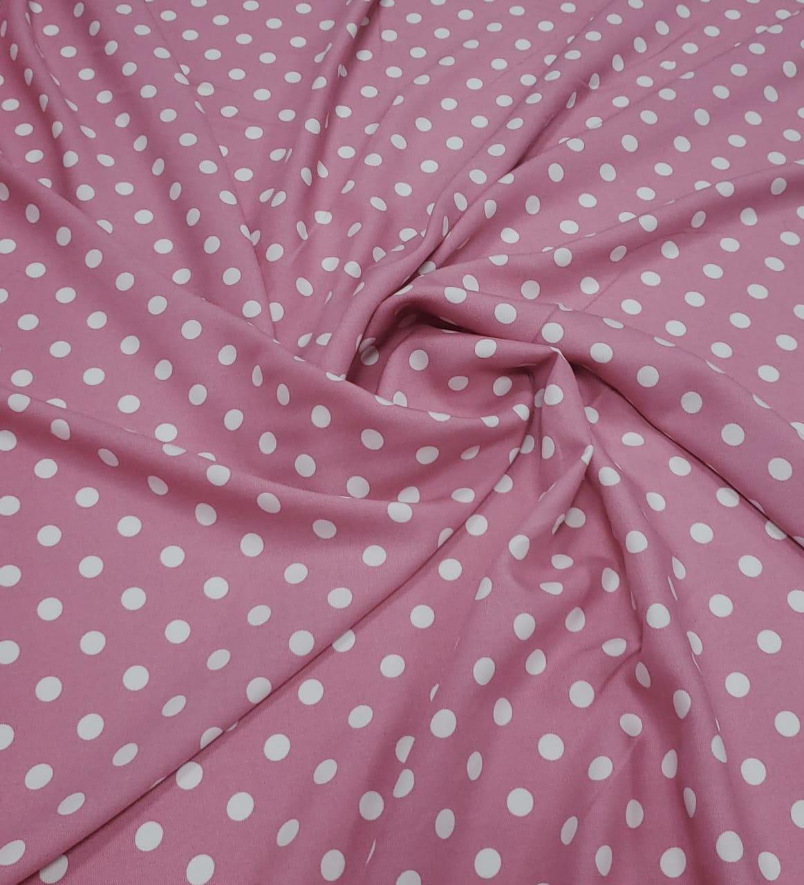 Popeline de Viscose Premium Fundo Rosa Poá Bola Pequena Branco